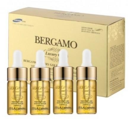 Набор антивозрастных ампульных сывороток с золотом BERGAMO Luxury gold caviar wrinkle care intense repair ampoule 13 мл*4: фото