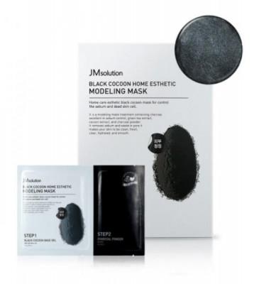 Альгинатная маска с экстрактом древесного угля и шелкопряда JMSolution Black Cocoon Home Esthetic Modeling Mask 50г+5г: фото
