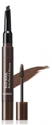 Тушь-карандаш для бровей THE SAEM Eco Soul Brow Pencil & Mascara 03 Dark Brown 0,2г/2,5мл: фото