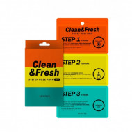 Трехэтаные полоски для носа EUNYUL CLEAN & FRESH 3-STEP NOSE PACK: фото