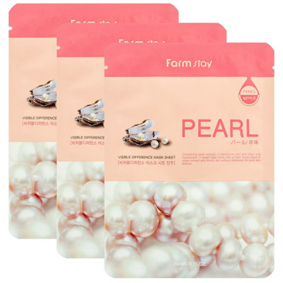 Маска с экстрактом жемчуга FARMSTAY Pearl visible difference mask sheet 23мл*3 шт: фото