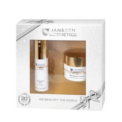 Набор антивозрастных средств Janssen Cosmetics Mature skin: Skin Contour Cream 50мл + Age Perfecting Serum 30мл + розовая косметичка: фото