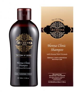 Шампунь для волос с хной и комплексом восточных трав Richenna Gold Henna Clinic Shampoo 200 мл: фото