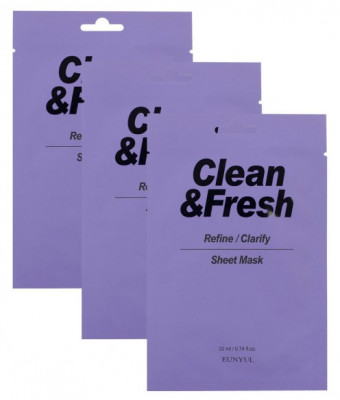 Набор тканевых масок для выравнивания тона и рельефа лица EUNYUL CLEAN & FRESH REFINE-CLARIFY SHEET MASK 22мл*3: фото