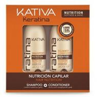 Набор для волос укрепляющий Kativa Keratina: Шампунь 100мл + кондиционер 100мл: фото